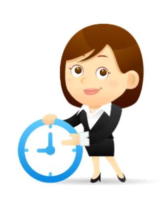 Cartoon Lady Holding a Clock